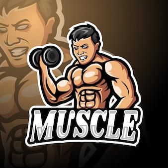 Projeto de mascote de logotipo esport muscular
