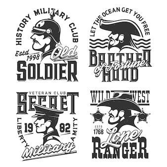 Projeto de mascotes de guerreiros de soldado, pirata e ranger do oeste selvagem. emblema monocromático, rótulos isolados com tipografia