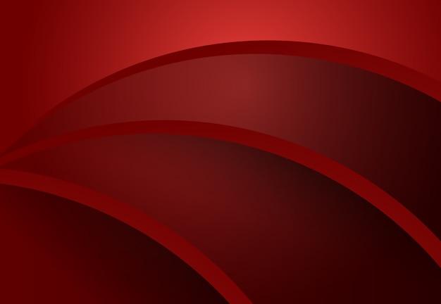Projeto de material geométrico de curva abstrata vermelho e preto
