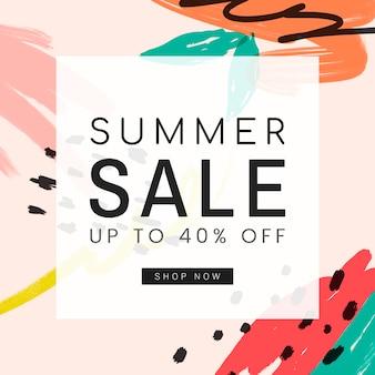 Projeto de memphis com vetor de venda de verão