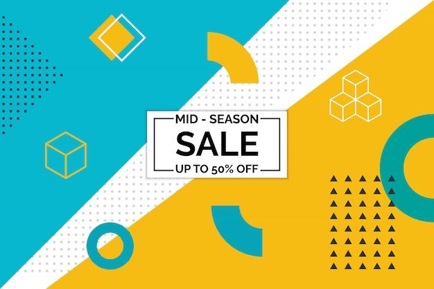 Projeto de memphis de banner de venda de temporada média