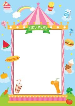 Projeto de menu de crianças com moldura de carnaval.