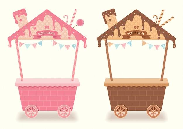 Projeto de menu doce para exibição de cabine com sabor de morango e chocolate.