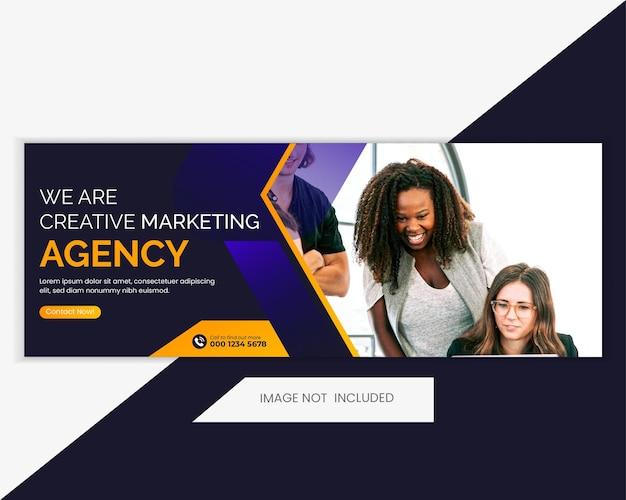 Projeto de mídia social promocional da agência comercial, capa do facebook, modelo de banner da web.