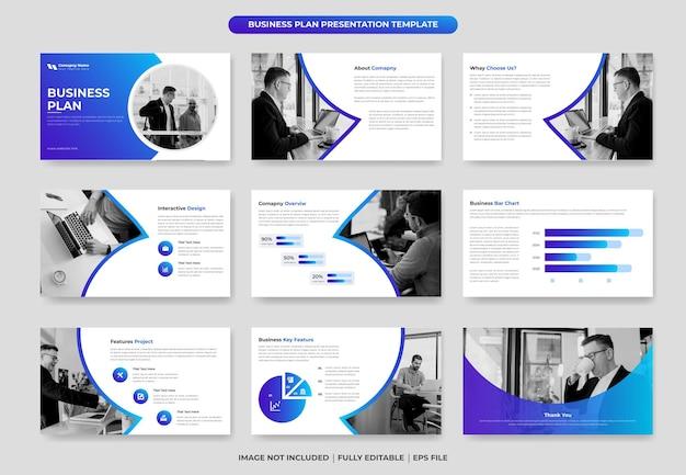 Projeto de modelo de apresentação de powerpoint de plano de negócios ou proposta e relatório anual