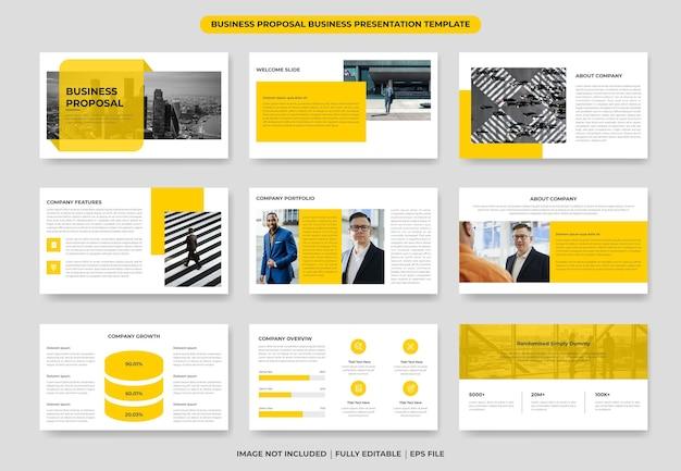 Projeto de modelo de apresentação em powerpoint de proposta de negócios ou relatório anual e folheto da empresa