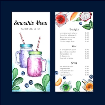 Projeto de modelo de aquarela de menu de smoothie