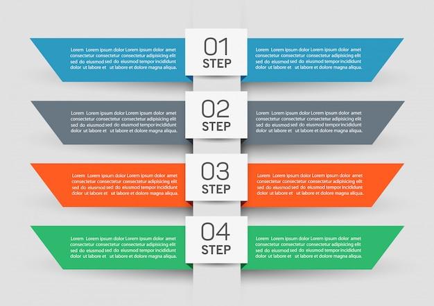 Projeto de modelo de banner de negócios de vetor infográfico com 4 etapas