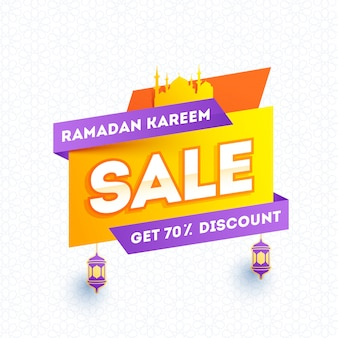 Projeto de modelo de banner ramadan kareem venda com 70% de desconto