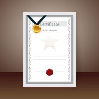 Projeto de modelo de certificado de participação ou certificado em branco.