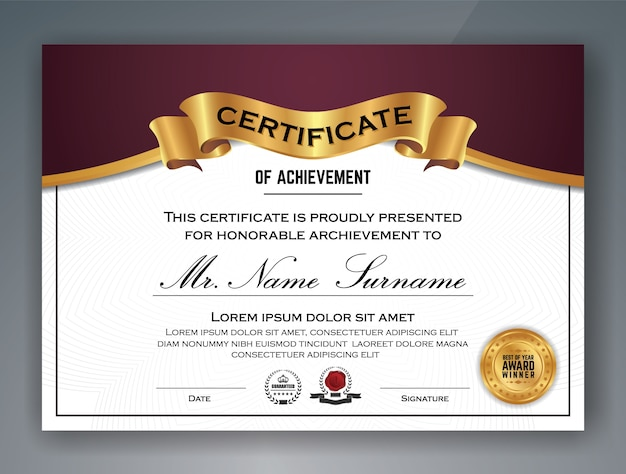 Projeto de modelo de certificado profissional multifuncional