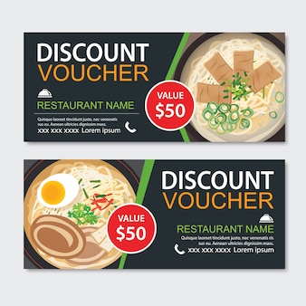 Projeto de modelo de comida asiática de voucher de presente de desconto. conjunto de macarrão