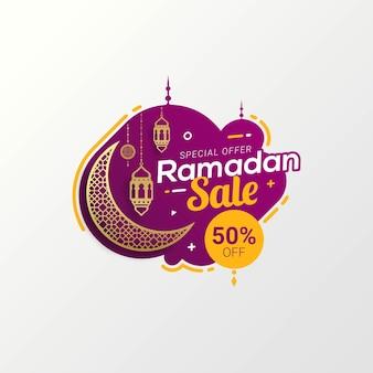 Projeto de modelo de desconto de banner de venda do ramadã para promoção de negócios