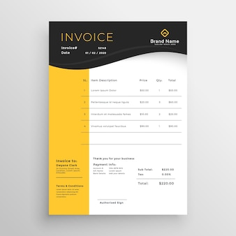 Projeto de modelo de fatura legal de vetor preto e amarelo moderno