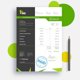 Projeto de modelo de fatura verde e cinza para sua empresa.