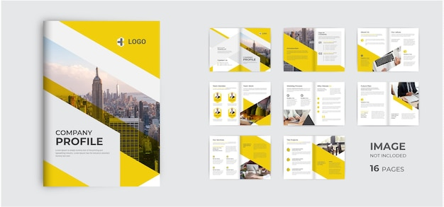 Projeto de modelo de folheto comercial minimalista layout de folheto corporativo com várias páginas minimalista