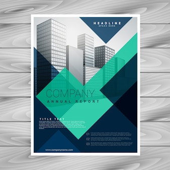 Projeto de modelo de folheto da empresa geométrica azul