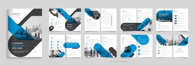 Projeto de modelo de folheto de 16 páginas de negócios formas modernas vetor premium