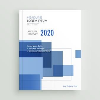 Projeto de modelo de folheto de relatório anual de negócios com formas geométricas azuis