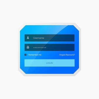 Projeto de modelo de formulário de login azul em estilo vetorial