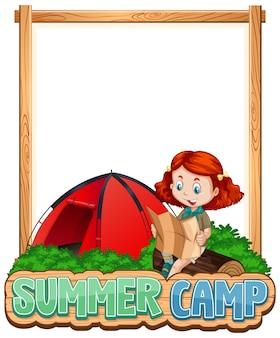 Projeto de modelo de fronteira com garota em acampamento de verão