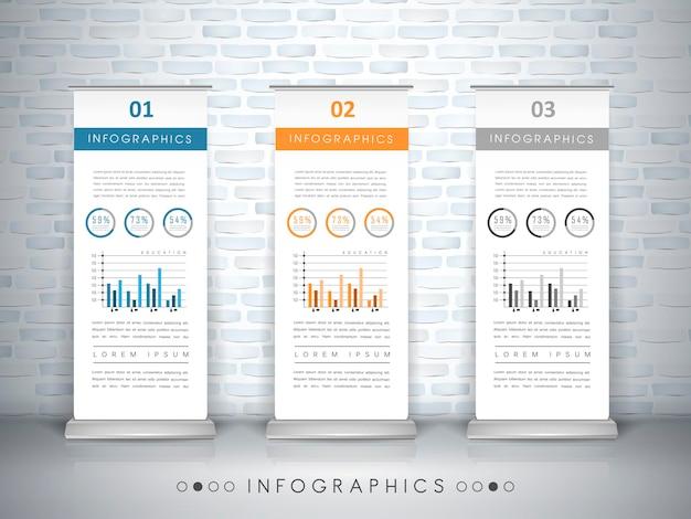Projeto de modelo de infográfico de conceito de exposição com elemento de banners de enrolar