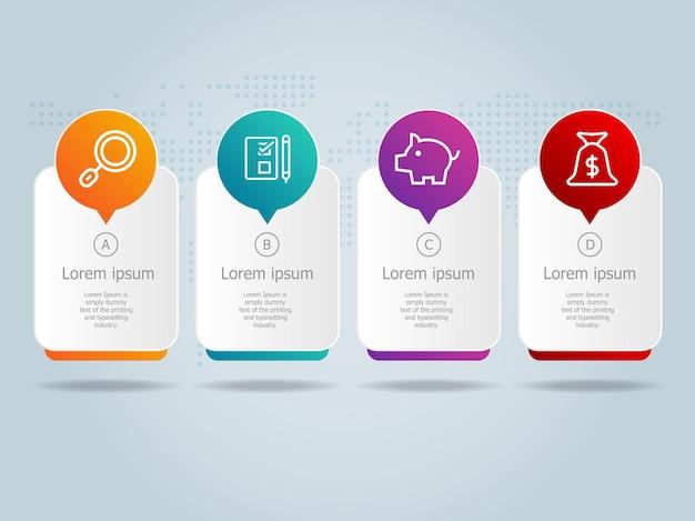 Projeto de modelo de infográficos horizontais de negócios