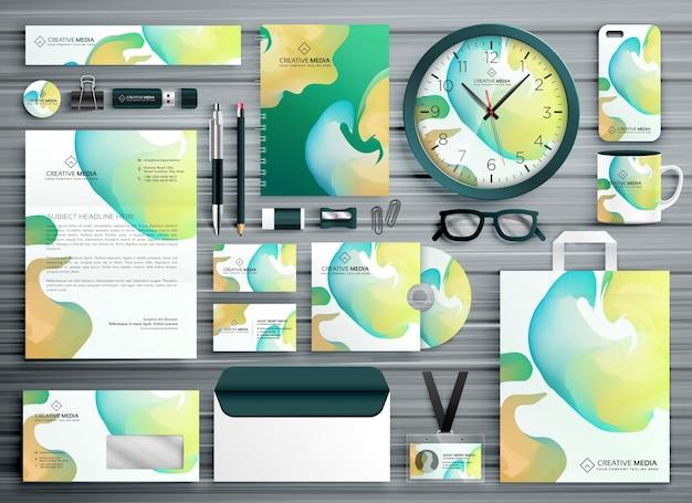 Projeto de modelo de papelaria empresarial abstrato para sua identidade de marca
