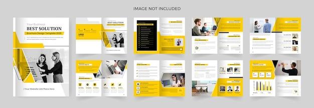 Projeto de modelo de perfil de empresa de 16 páginas com formas de cor amarela, design de brochura com várias páginas