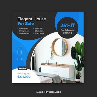 Projeto de modelo de postagem de mídia social imobiliária à venda