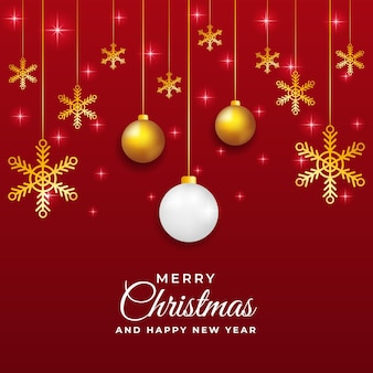 Projeto de modelo de postagem de natal e ano novo em vermelho e dourado fofo com enfeites