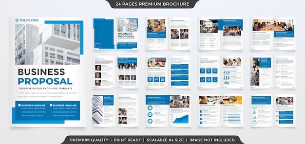 Projeto de modelo de proposta de negócios bifold com estilo minimalista e layout moderno para uso no relatório anual de negócios