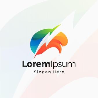 Projeto de modelo premium de logotipo gradiente brain storming