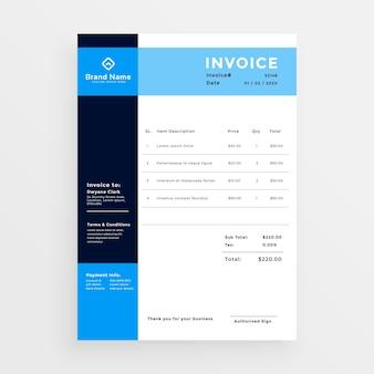 Projeto de modelo profissional de fatura comercial em cor azul