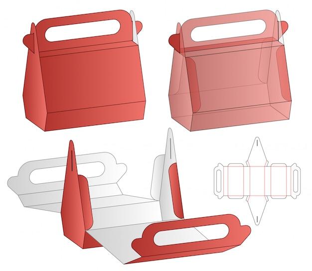 Projeto de molde cortado de embalagem de caixa. 3d