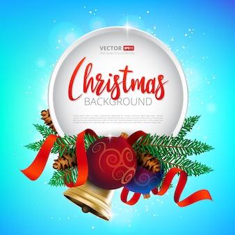 Projeto de moldura redonda de natal, decoração de férias de árvore realista ano novo com bolas de natal, sino de ouro e fita vermelha. ilustração em colorido