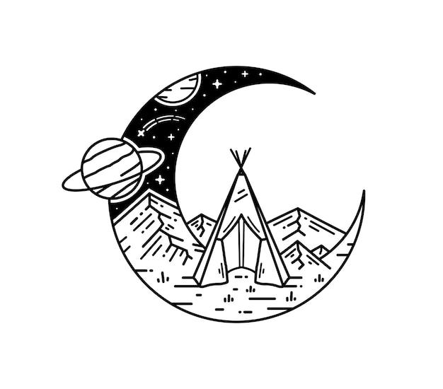 Projeto de monoline do tatuagem da paisagem do espaço da meia lua Vetor Premium