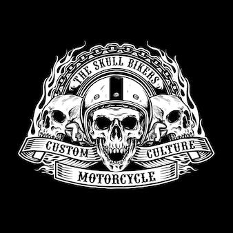 Projeto de motociclista de caveiras de capacete
