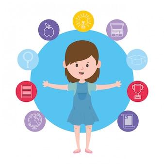 Projeto de mulher de avatar, aprendendo o download on-line, lendo o tema digital e educacional da tecnologia da biblioteca eletrônica