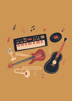 Projeto de música vetorial com baixo sintetizador, guitarra acústica, microfone, tambor de vinil, etc.