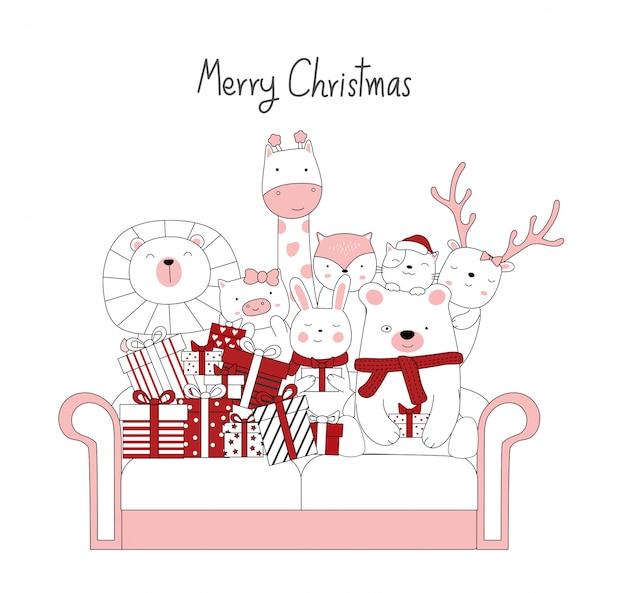 Projeto de natal com os desenhos animados de animais fofos e a caixa de presente no sofá vintage. mão desenhada estilo cartoon