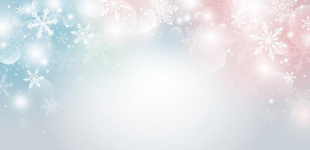 Projeto de natal de floco de neve e bokeh com efeito de luz