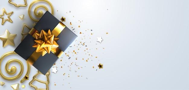 Projeto de natal de fundo de natal de caixa de presentes azul realista, 3d dourado render floco de neve e glitter ouro confete, bola de bugiganga.