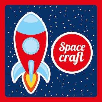 Projeto de nave espacial sobre ilustração em vetor fundo noite