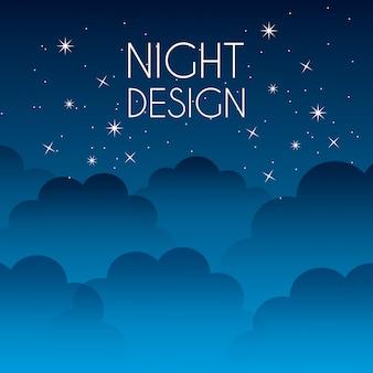Projeto de noite sobre ilustração em vetor fundo céu