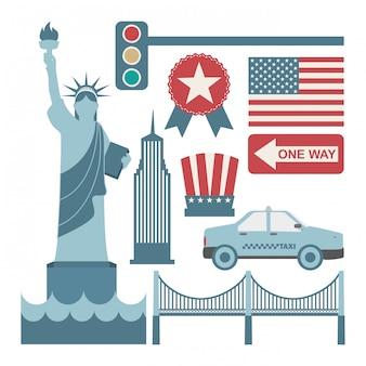 Projeto de nova york sobre ilustração vetorial de fundo branco