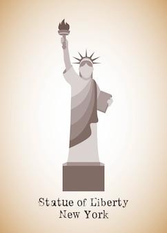 Projeto de nova york sobre ilustração vetorial de fundo bronze