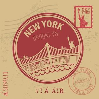 Projeto de nova york sobre ilustração vetorial de fundo vintage