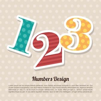 Projeto de números sobre ilustração vetorial de fundo pontilhada