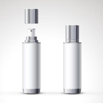 Projeto de pacote de garrafa de spray branco definido em ilustração 3d